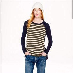 J. Crew Striped Sweater with Side Buttons
